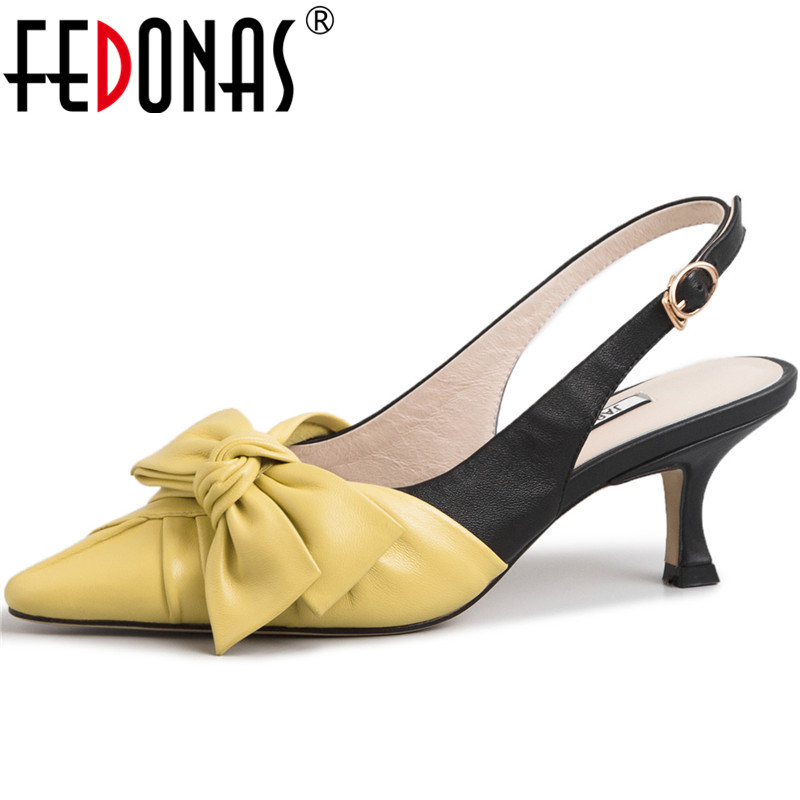 FEDONAS New Arrival Women Butterfly Knot Party Prom Pumps Spring Summer Fashion Shoes Genuine Leather Brand Shoes Woman