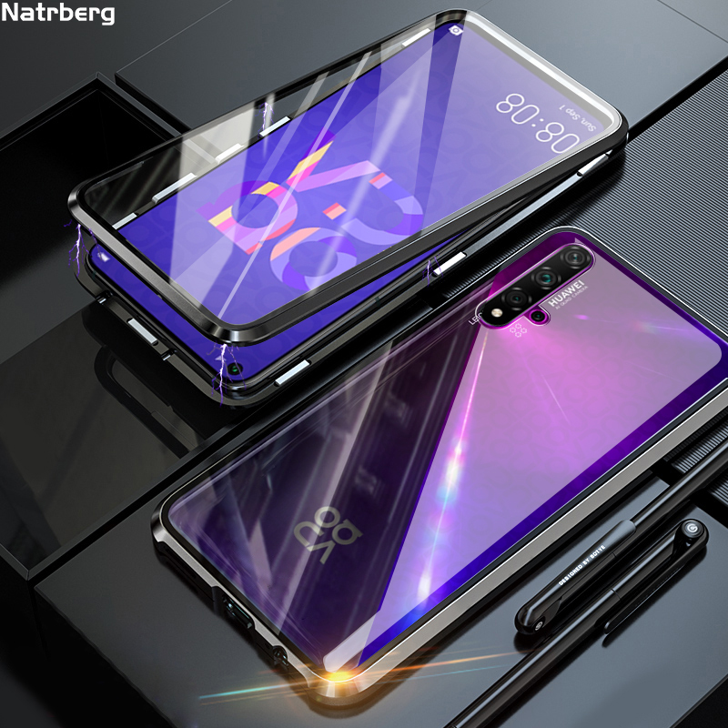 Natrberg Glass Case For Huawei Nova 5T Case Magnetic Metal 360 Dual Tempered Glass Back Hard Cover On For Huawei Honor 20 Case