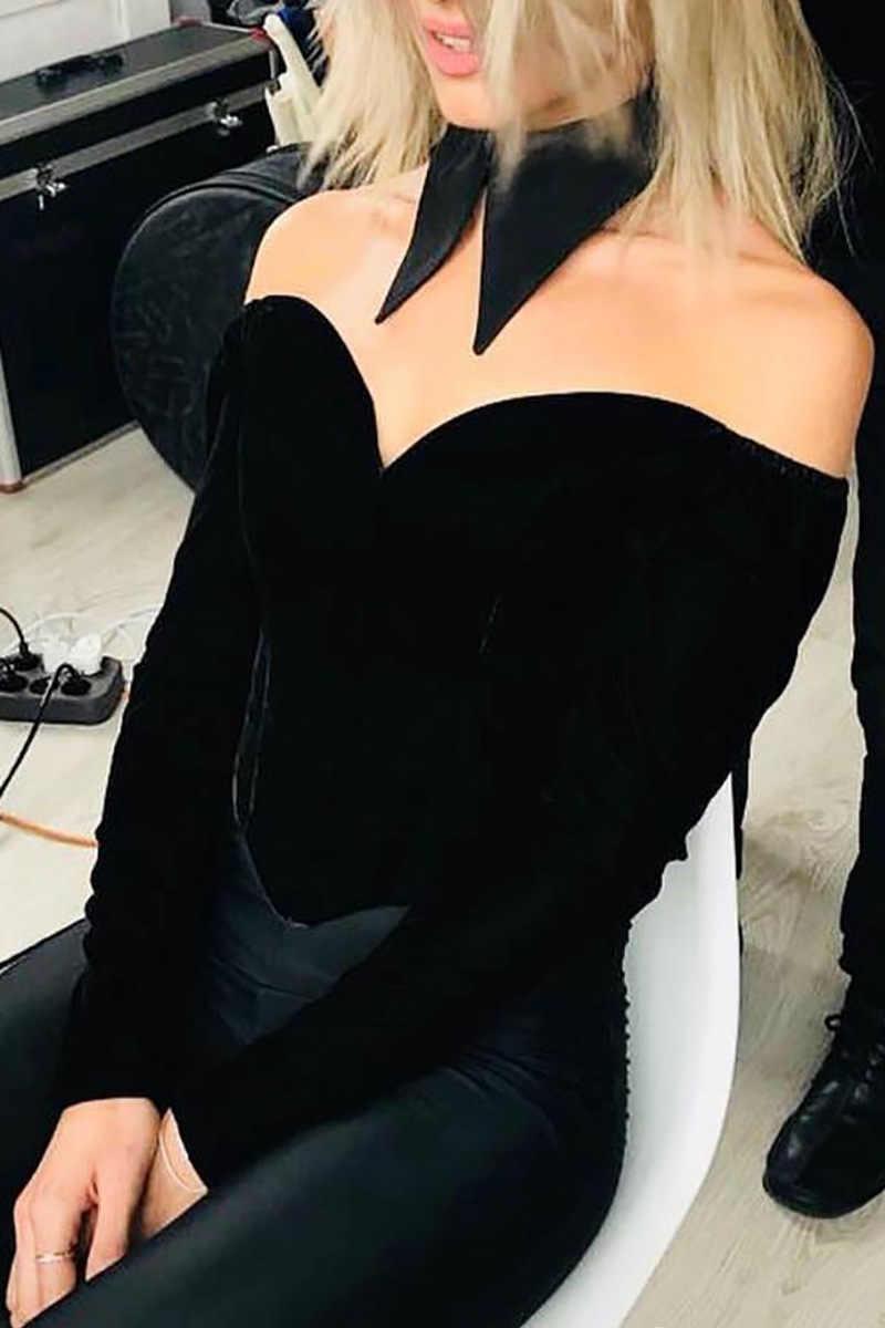 2020 春夏クロップトップ女性のセクシーなビスチェトップオフショルダー見えないストラップ V ネックカジュアル黒クロップトップシャツパーティー服