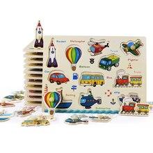 Puzzle en bois Montessori pour bébé, ensemble de planches à saisir, jouets éducatifs en bois, véhicule de dessin animé, Puzzle danimaux marins, cadeau pour enfant