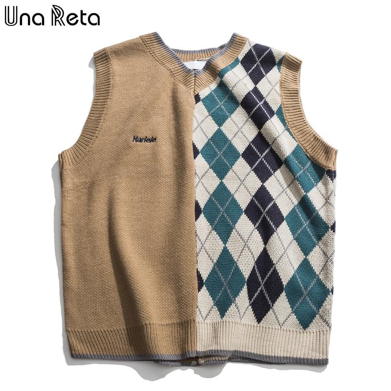 Una Reta Sweater Vest Men New Streetwear Men's Vests Pullover Men Fashion Geometry Sleeveless Sweater Patchwork Men's Sweater