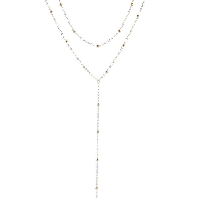 Necklace Chain Multilayer Women Necklaces Jewelry Ladies Tassel Beads Unisex Pendant Gold Color Classic Party Metal Naszyjnik