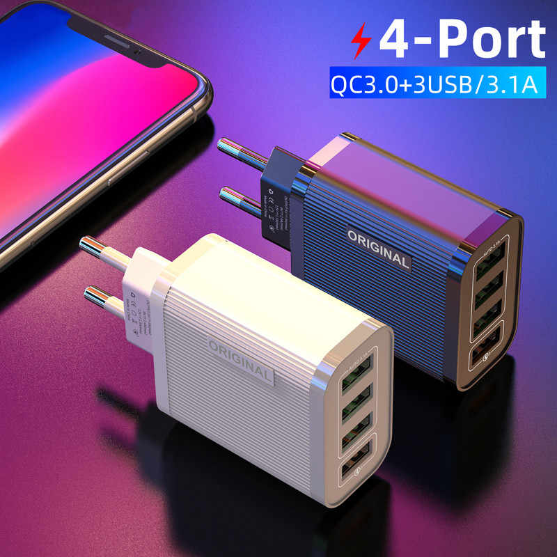 48W Pengisian Cepat 3.0 4.0 4 Port USB Charger USB Charger Cepat QC4.0 QC3.0 untuk Samsung A50 A30 S10 iPhone 7 8 11 Huawei P20 Tablet