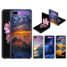 Case Cover for Samsung Galaxy Z Flip Black Hard Capa Phone Fall ShellSurfing Sunset Sea