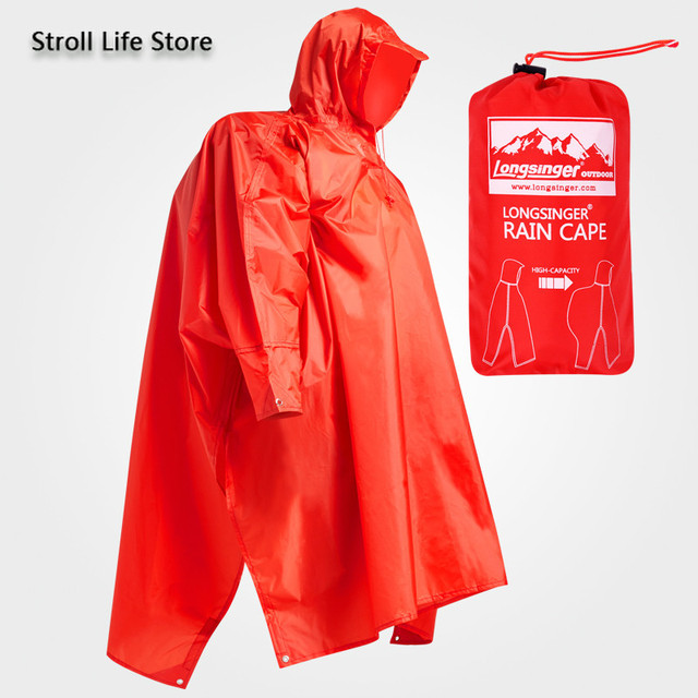 Outdoor Rain Poncho Hiking Raincoat Walking  with Sleeves Floor Cloth Rain Coat Thicken Riding Mountaineering Rain Gear Gift