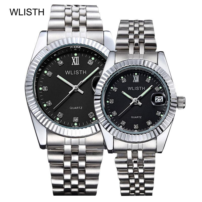 Fashion Women And Men Watches Elastic Gold Sliver Quartz Tide Lovers Couple Party Office Top Brand Business Bracelet Watch Gifts