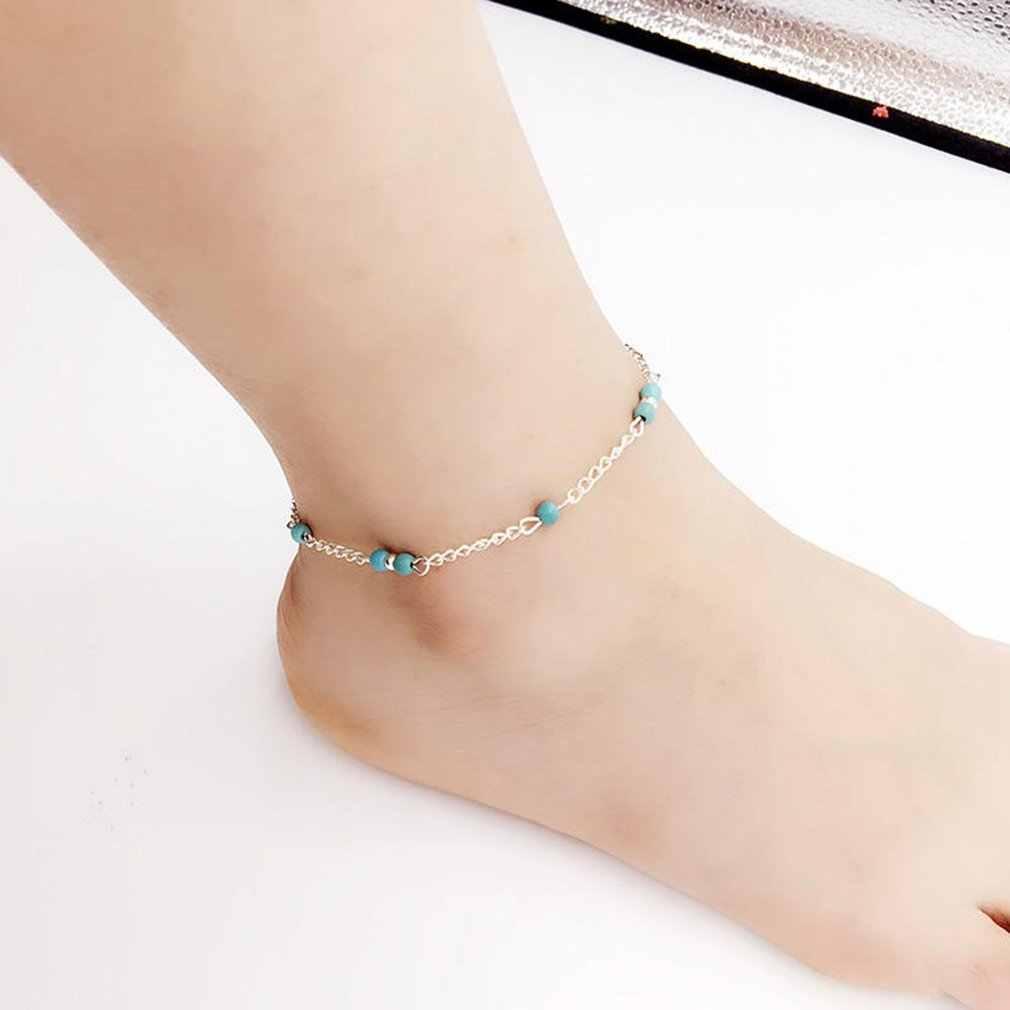 נשים חיקוי טבע אבן חרוזים כסף בעבודת יד צמיד רגל שרשרת אישיות אופנה קרסול צמיד נשי תכשיטי מתנות
