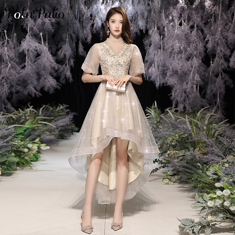 Champagne High Low Homecoming Dresses With Sleeves Elegant Appliques Sequin Tulle Women Prom Dresses 2021