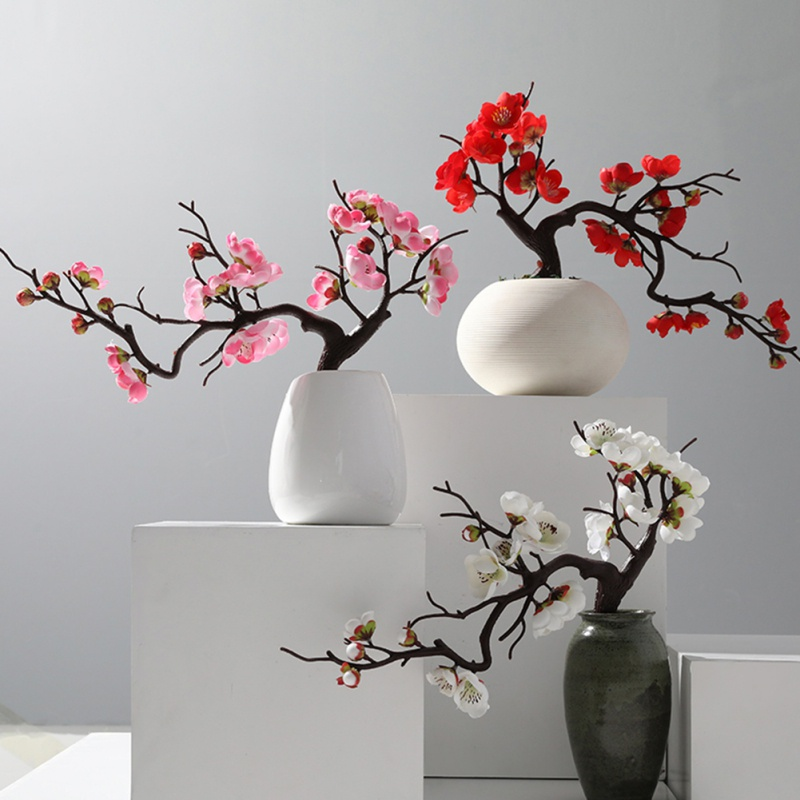 Hot 1pc Artificial Plum Blossom antiquity Artificial Silk Flowers Fake Cherry Silk Plants Party Wedding Home Decor chinese style