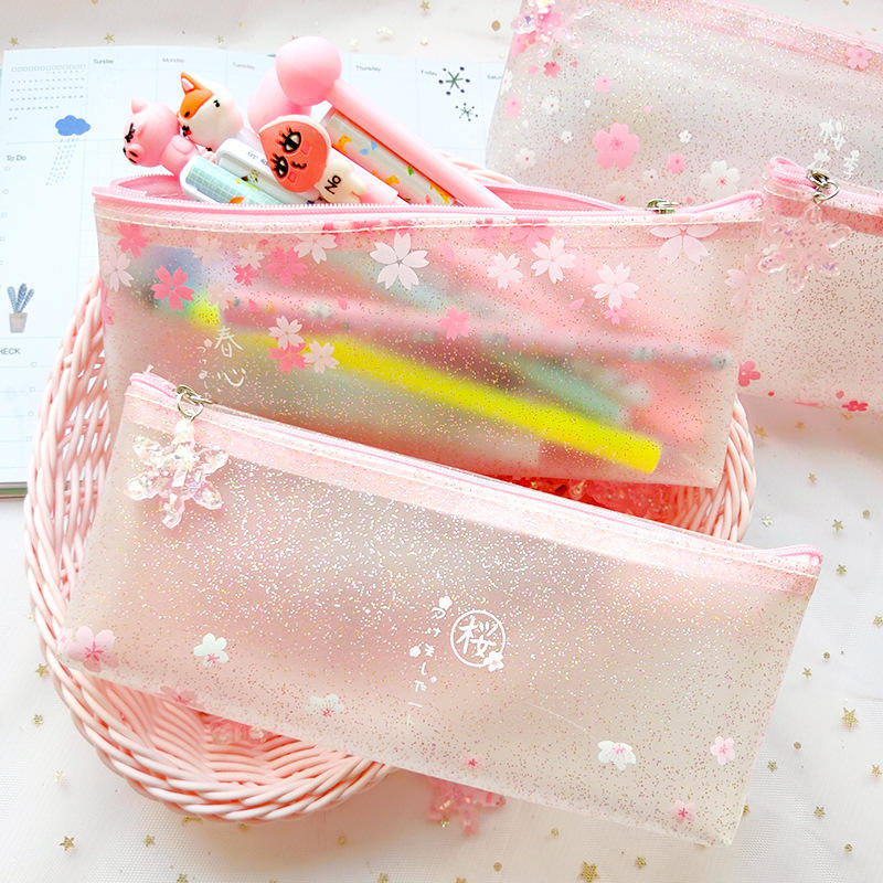 1Pcs Kawaii Pencil Case Sakura Flower Transparent Gift School Pencil Box Pencil Bag School Supplies Stationery Purs Gifts