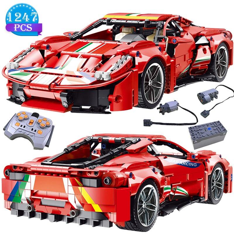 Креативная Модель гоночного автомобиля с дистанционным управлением красная модель автомобиля строительные блоки игрушки подарок на день ...