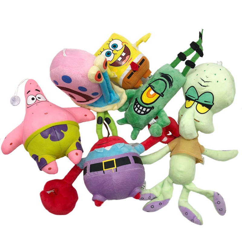 1pc Cute SpongeBob Plush Toys SpongeBob/Patrick Star/Squidward Tentacles/Eugene/Sheldon/Gary Stuffed Doll Toys For Kids Girls