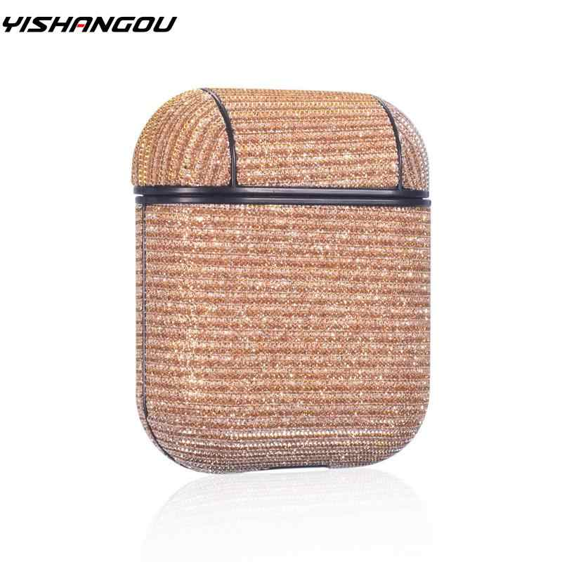 For Apple Airpods 2nd 1st Glitter Leather PC Hard Earphone Protector Bluetooth Wireless Case Cover For Airpods Charging Box