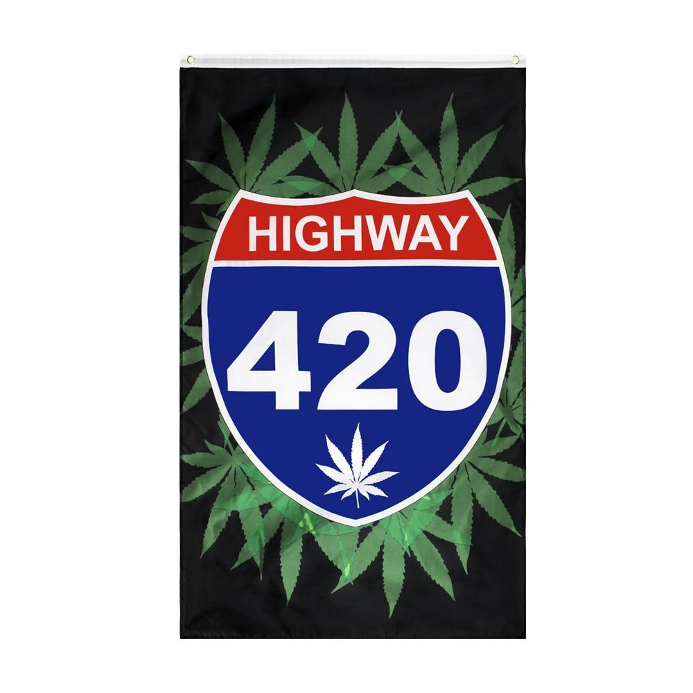 Highway 420 Leaf Flag Rasta Reggae Jamaica Music Rock Flag 150* 90cm 3ft x 5ft Custom Banner Metal Holes Grommets