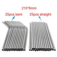 FUHAIHE 50pcs/lot Metal Straw Reusable Wholesale Stainless Steel Drinking Tubes 215mm*6mm Straight Bent Straws For Drink|  -