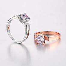 Classic Elegant Cubic Zirconia Engagement Finger Ring Rose Gold Color Crystal Fashion