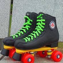 2021 Black Pu Roller Skates 2 Double Row 4 Wheels Men Women Leather Skating Shoes Sliding Quad Quality Skates Sneakers Training