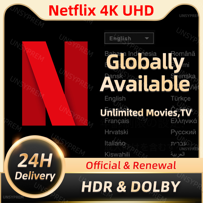 Netflixes Pre-mium 4K UHD ACC 1-5 screens Android APK Service Worldwide