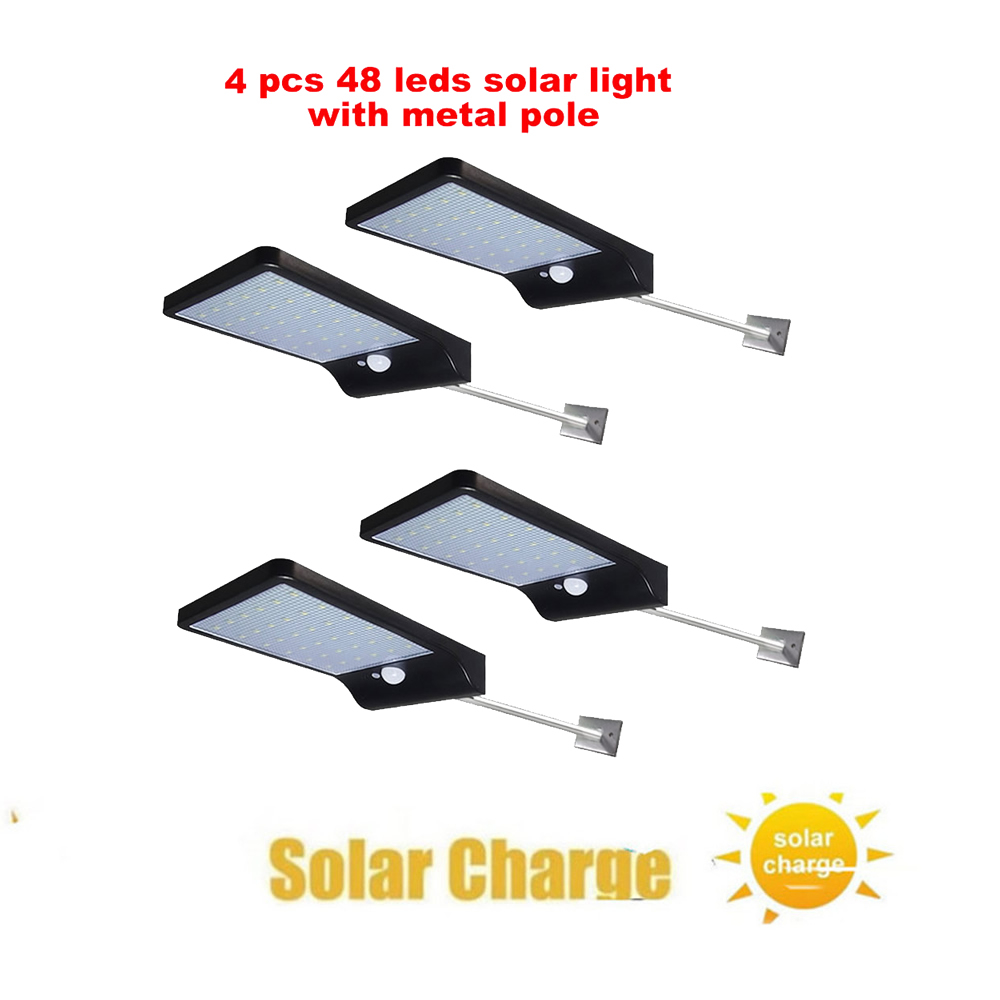 2/4pcs 48 LED Solar Powered Wall Lamp PIR Motion Sensor Waterproof Light Bulb Garden Light Outdoor Path Security 3 Sided Luminou