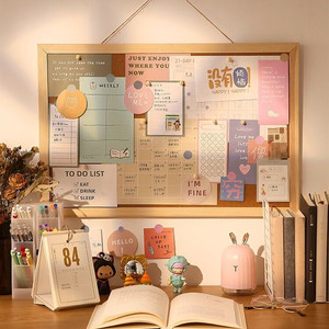 MINKYS Kawaii Wooden Letter Message Board Decorative Postcard Photo Wall Cork Board Memo Paper Background Board Stationery
