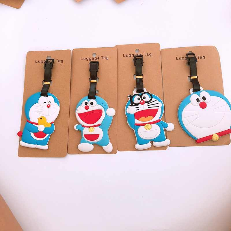 Cartoon Doraemon Luggage Tag Travel Accessories Cute Portable Suitcase bag Tag Silicon Name Labels Women men etiquette bagage