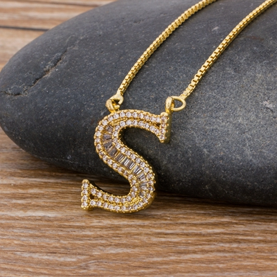 Luxury Gold Color A-Z 26 Letters Necklace CZ Pendant for Women Cute  Initials Name Necklace Fashion Party Wedding Jewelry Gift 10