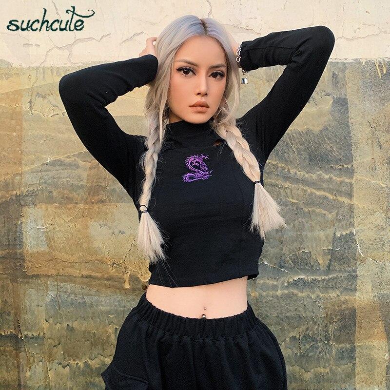 SUCHCUTE Dragon Print Female T-Shirts Modis Longslive Harajuku Gothic Autumn 2019 Casual Korean Style Tops For Women Festival