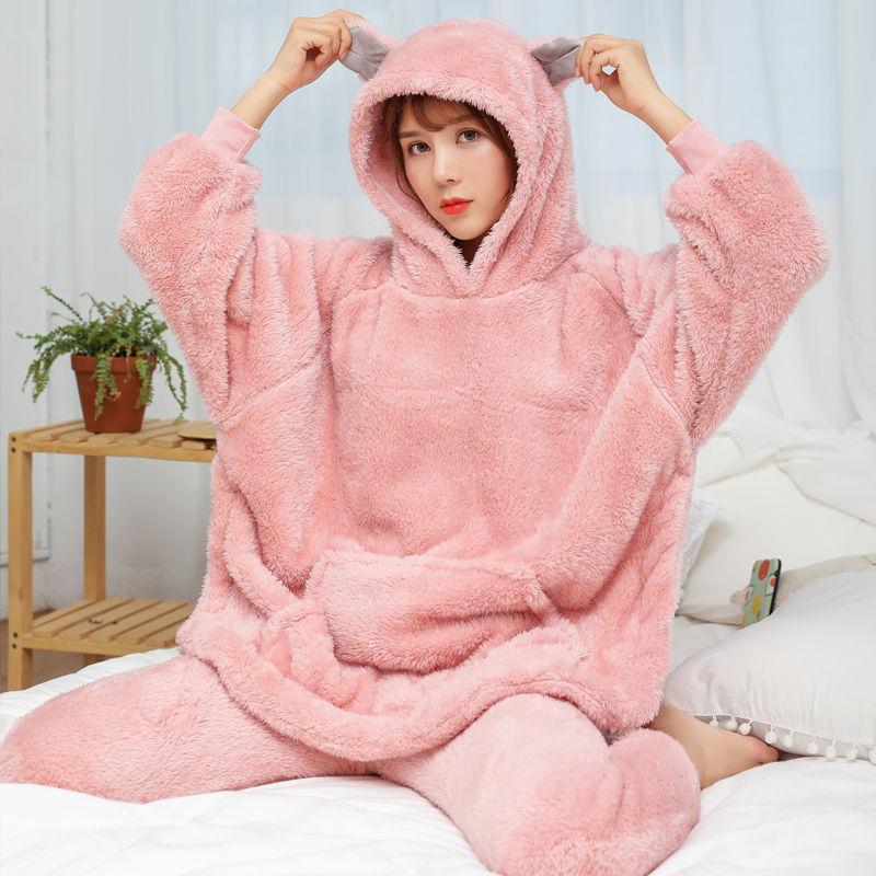 2 Pcs Winter Women Pajamas Sets Sleepwear Long Sleeves Warm Pajama Soft Sleep Suits Pyjamas Cute Animal Female Homewear