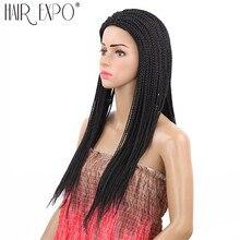 22 cal długie pudełko warkocz peruki czarny i brązowy syntetyczne Micro Twist plecione peruki do włosów dla kobiet afrykańskich włosów Expo miasta