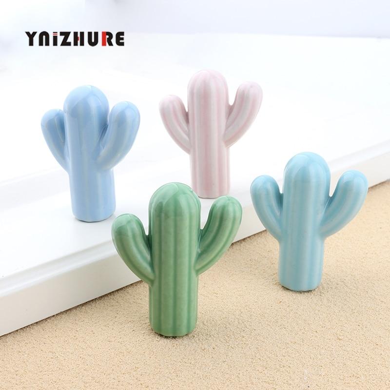 Instagram Style Ceramic Green Pink Cactus Knob Children Room Hardware Museum Cabinet Knobs Drawer Knobs For Kids Children