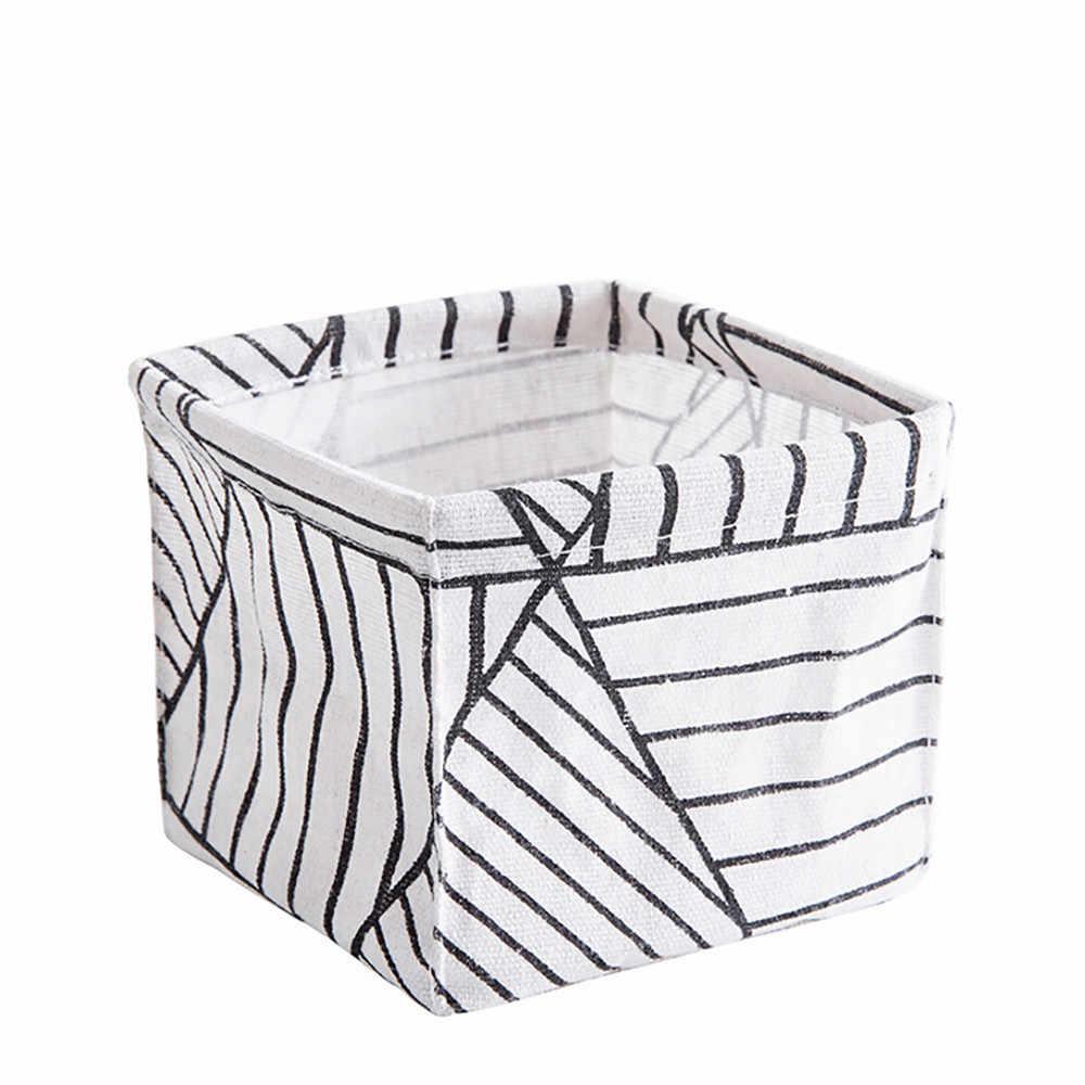 コットンリネン収納バスケットボックスコンテナオーガナイザー雑貨収納ボックス下着化粧品収納クローゼットオーガナイザーボックス # BL5