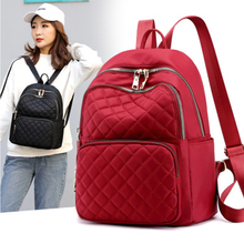 2019 new brand large capacity waterproof nylon ladies backpack high quality student bag ladies luxury diamond plaid backpack