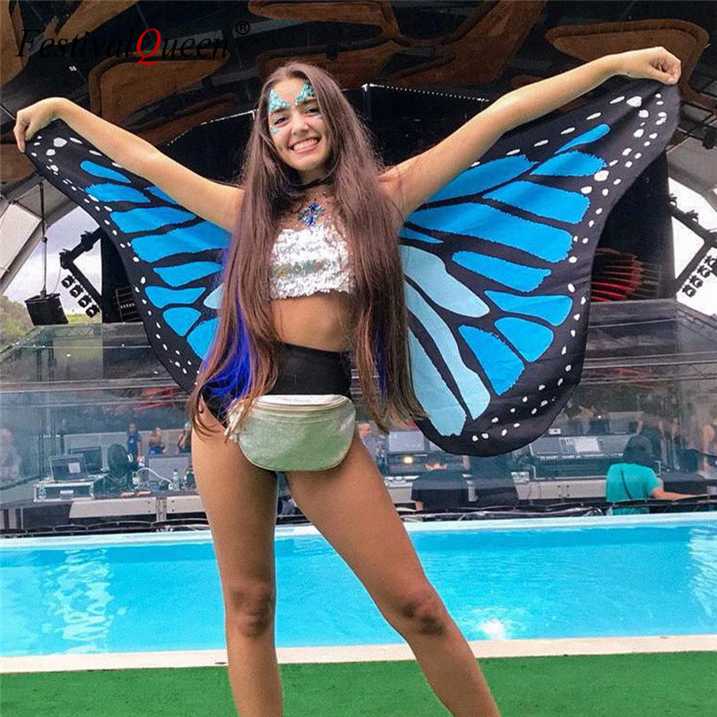 Colorful Rainbow Butterfly Wings For Women Belly Dance 360 Degree Big Butterfly Wings Props Party Club Stage Performance Costume