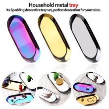 Kleine Artikel Schmuck Display Tray Dekoration Snack Platten Metall Lagerung Tablett Gold Silber Oval Dessert Obst Platte(China)