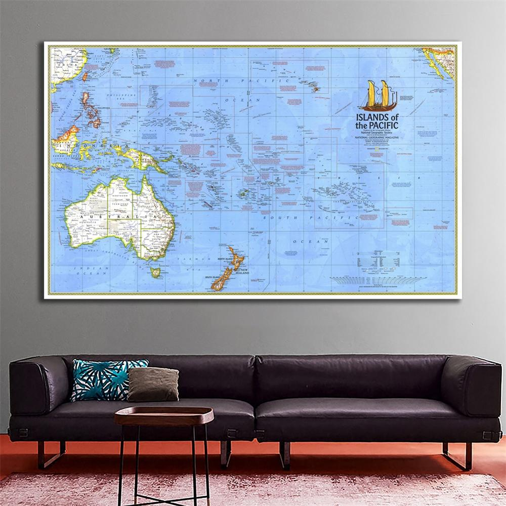 3x5ft HD Non-woven Map Of Islands Of The Pacific Vinyl Spray Painting Wall Decor Map For Home Decor Crafts