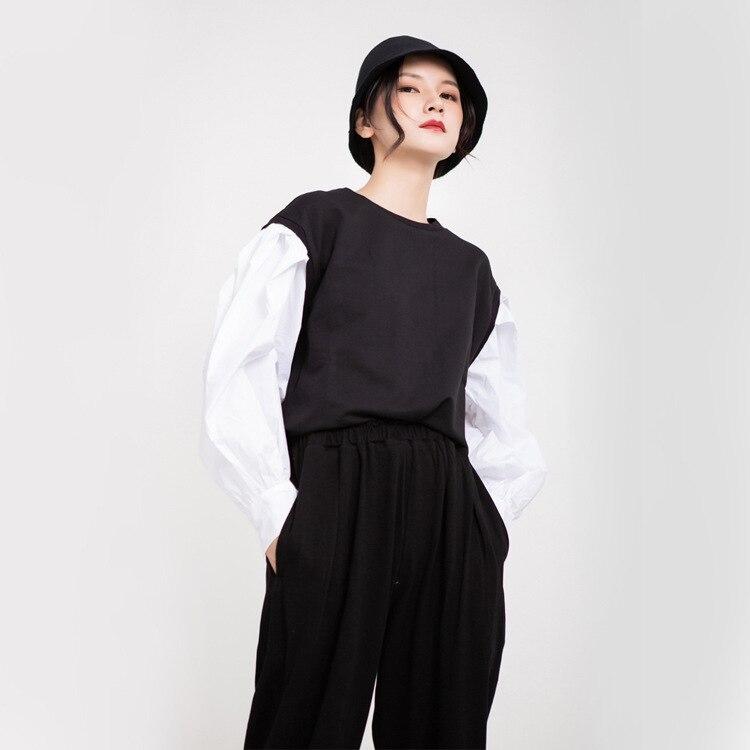 TVVOVVIN 2019 automne vêtements femme blanc lanterne chemise à manches longues Patchwork col rond pull à capuche femme L069 - 4