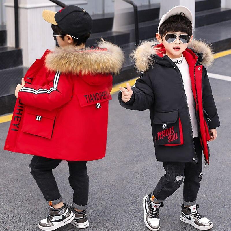 Зимняя куртка из полиэстера для мальчиков, новинка 2021, Корейская версия, утепленная, сохраняющая тепло, модная повседневная детская одежда ...
