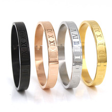 Luxury Brand Men and Women Stainless Steel Rose Gold Color Couples Carving Roman Numeral Cuff Bracelet Bangle Fashion Jewelry luxury brand fashion jewelry bangle titanium steel gold color love letter bracelet