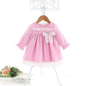 Image 3 - תינוק בנות שמלות נסיכת בנות בגדי ילדי בגדים הסטודנטיאלי סגנון ילדים בגדי כדור שמלה עם קשת 1 5Y