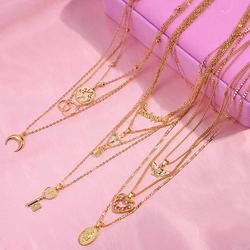 Flatfoosie Multilayer Cross Gold Color Pendant Necklaces For Women Punk Angel Heart Crystal Choker Necklace Fashion Jewelry Gift