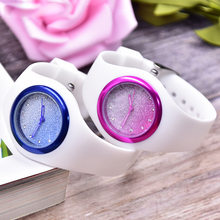 Net Red Hot Selling with Crystal Multi-color Gradient Silver Powder Silicone Women's Watch Japan Movement High Waterproof Measur(China)