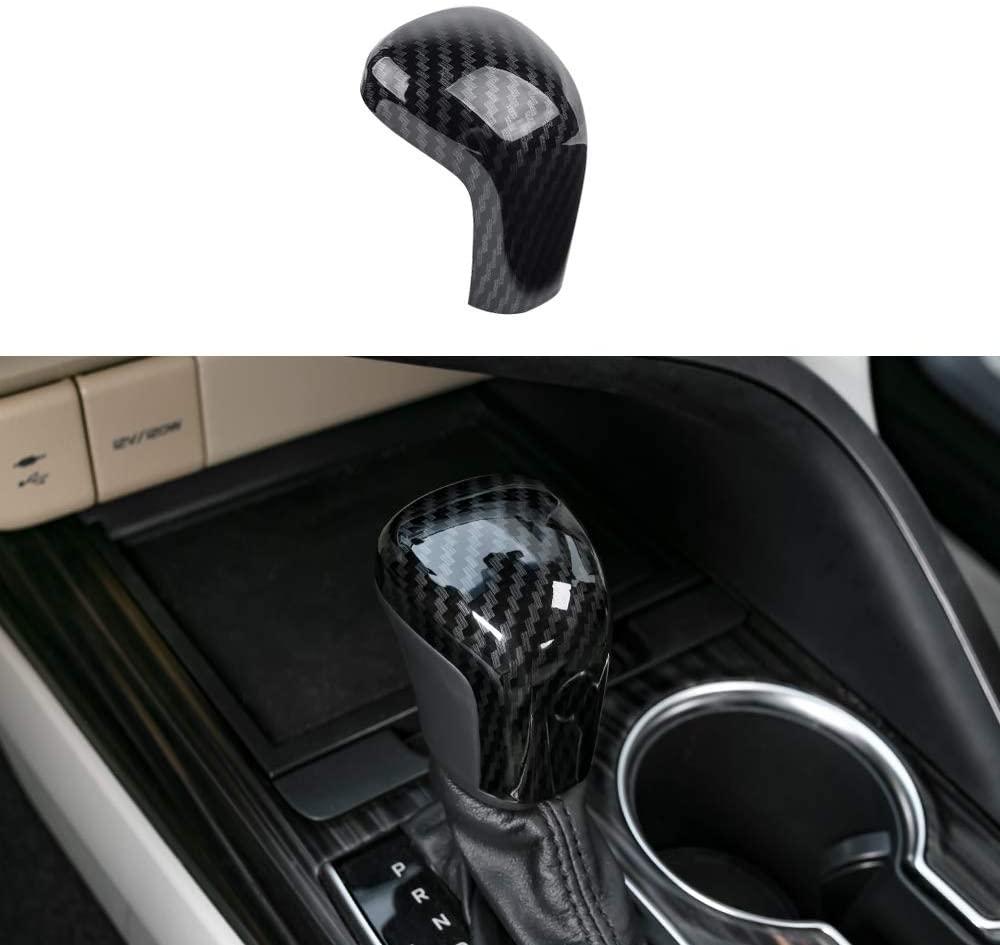 Sport Style Carbon Fiber Print Gear Shift Knob Cover Trim Sticker Decoration for Toyota Camry Avalon Corolla Hatchback Accessory