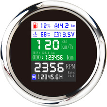 6-In-1 Multi-Functional-Gauge Tachometer Car-Boat Digital LCD Fuel-Level-Gauge Water-Temp-Oil