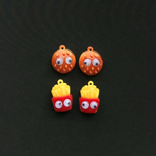 10pcs Resin Flatback  Food Hamburger And French Fries For Necklace Keychain Pendant DIY Making Accessories