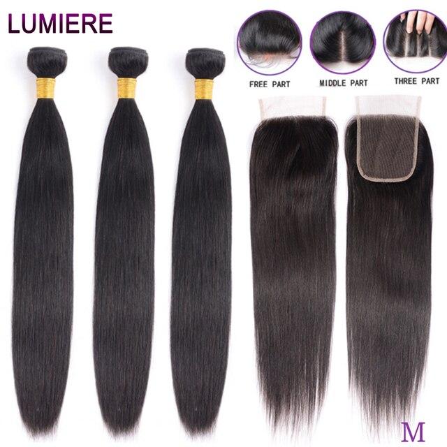 Proste zestawy z zamknięciem brazylijskie włosy wyplata wiązki z zamknięciem wiązki ludzkich włosów z zamknięciem do przedłużania włosów remy