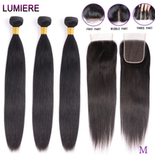 Straight Bundles With Closure Brazilian Hair Weave Bundles With Closure Human Hair Bundles With Closure Hair Extension remy