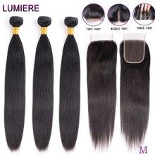 ישר חבילות עם סגירה ברזילאי שיער Weave חבילות עם סגירת שיער טבעי חבילות עם סגירת הארכת שיער רמי