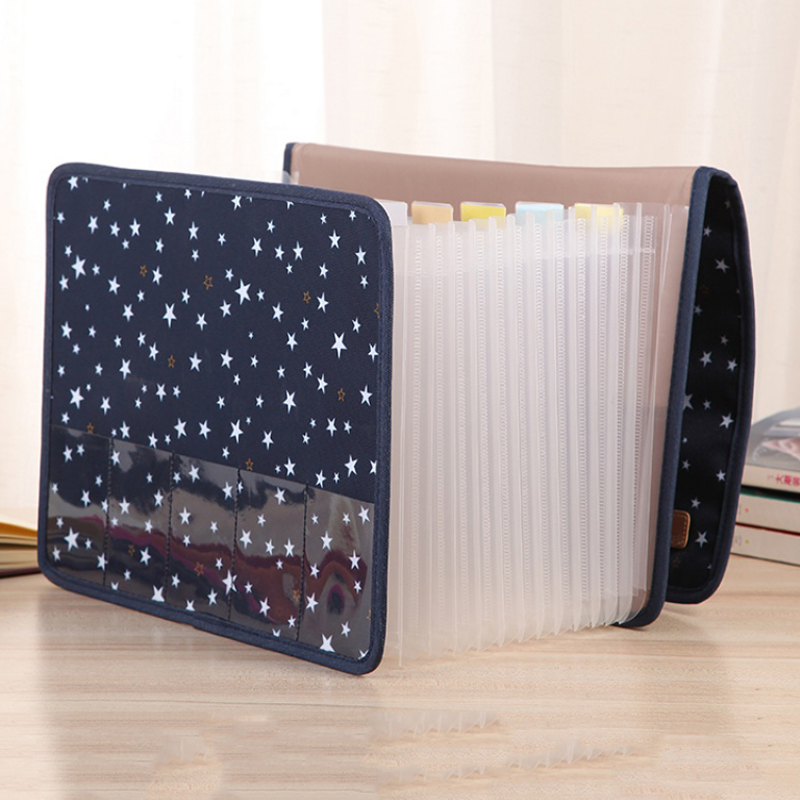 Cute Portable Expandable Accordion 13 Pockets A4 File Folder Oxford Expanding Document Briefcase Office Stationery Supplies