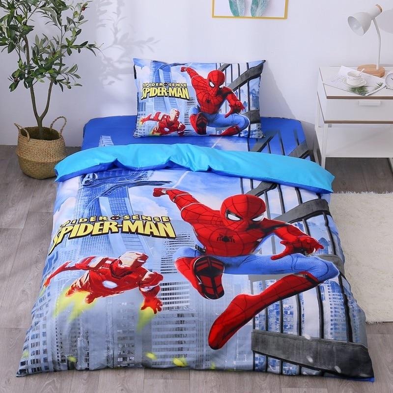 Disney Avengers Iron Man Spiderman 100% Cotton Bedding Set Duvet Cover Flatsheet Pillowcases For Baby Boys Kids Birthday Gift