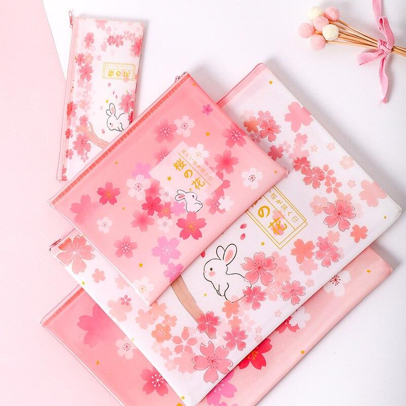 10PCS Stationery Cherry Rabbit Japanese Zipper Mesh Bag A4 A5 B6 File Bag